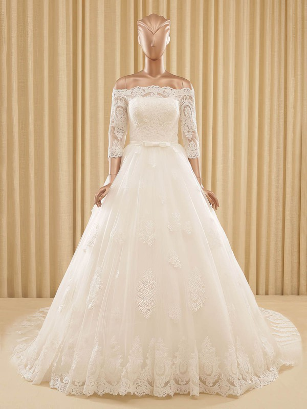 Off-the-shoulder A-line Tulle Appliques Lace Chapel Train Women's 3/4 Sleeve Wedding Dress #PWD00022571