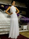Inexpensive A-line Ruffles Chiffon Floor-length Open Back High Neck Wedding Dresses #PWD00022572