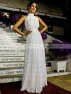 Inexpensive A-line Ruffles Chiffon Floor-length Open Back High Neck Wedding Dresses #PWD00022572