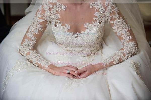 Glamorous A-line Scoop Neck Tulle with Appliques Lace Sweep Train Long Sleeve Wedding Dress #PWD00022573