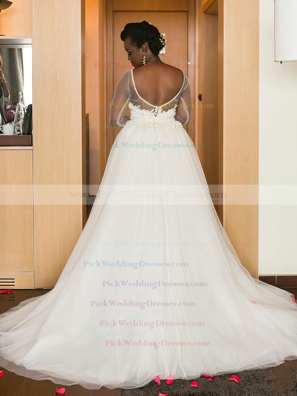 Asymmetrical Backless A-line Scoop Neck Tulle Appliques Lace Unusual Long Sleeve Wedding Dress #PWD00022574