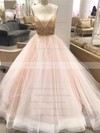 Latest Princess V-neck Tulle with Crystal Detailing Court Train Backless Wedding Dresses #PWD00022575