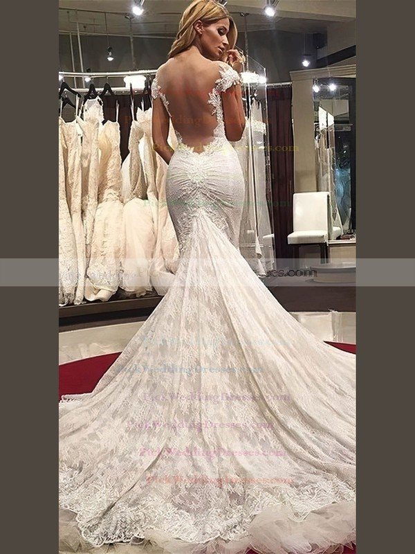 Trumpet/Mermaid V-neck Lace Tulle Appliques Lace Watteau Train Top Wedding Dresses #PWD00022577