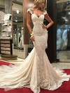 Trumpet/Mermaid V-neck Lace Tulle Appliques Lace Watteau Train Top Wedding Dresses #PWD00022577