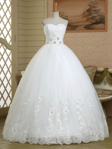 Ball Gown Sweetheart Tulle with Beading Floor-length Lace-up Original Wedding Dresses #PWD00022579