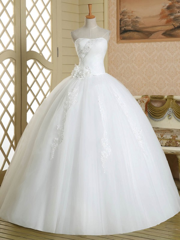 Promotion Ball Gown Tulle with Flower(s) Floor-length White Strapless Wedding Dresses #PWD00022580