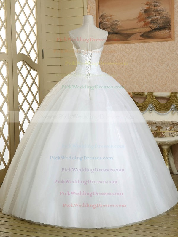 Simple Ball Gown Sweetheart Tulle Crystal Detailing Floor-length White Wedding Dress #PWD00022581