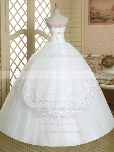Classic Strapless Tulle Appliques Lace Floor-length White Ball Gown Wedding Dresses #PWD00022583