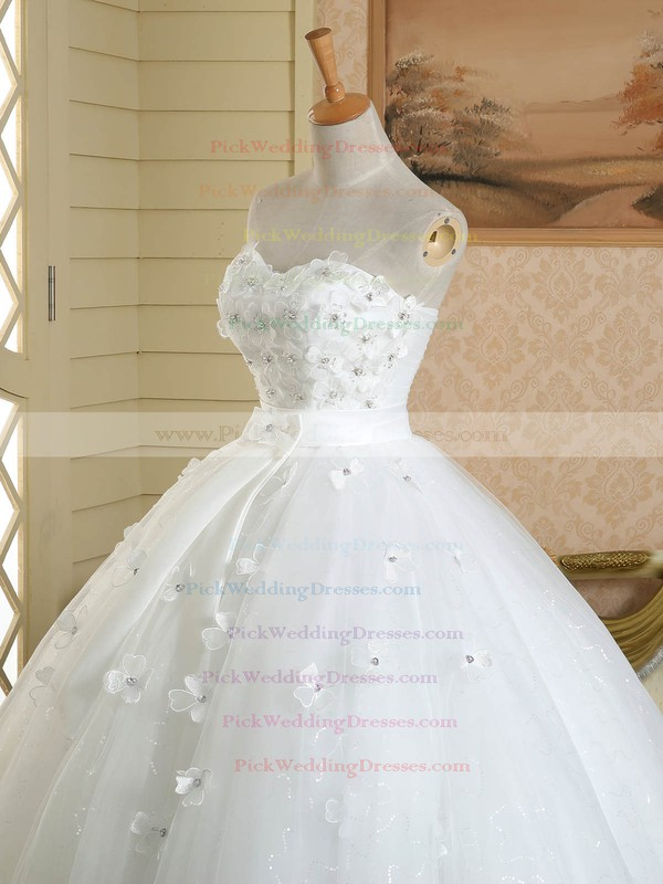 Ball Gown Sweetheart Tulle Sashes / Ribbons Floor-length Affordable White Wedding Dresses #PWD00022584