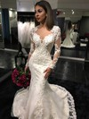 Expensive Trumpet/Mermaid Scoop Neck Tulle Court Train Appliques Lace Long Sleeve Wedding Dress #PWD00022585