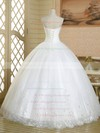 Famous Ball Gown Sweetheart Tulle with Beading Floor-length Lace-up White Wedding Dresses #PWD00022586