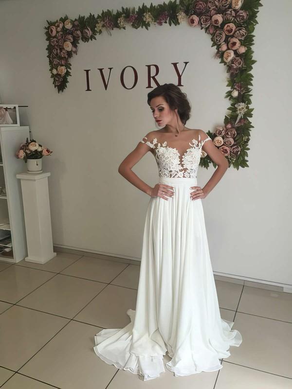Unique A-line Scoop Neck Chiffon Tulle Appliques Lace Sweep Train Short Sleeve Wedding Dress #PWD00022588