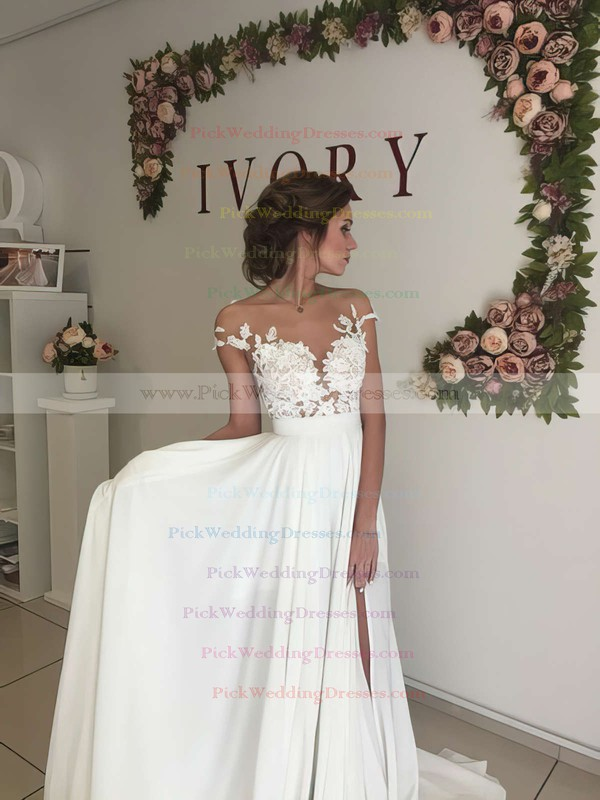 Unique A-line Scoop Neck Chiffon Tulle Appliques Lace Sweep Train Short Sleeve Wedding Dress #PWD00022588