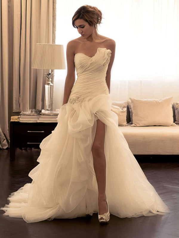 Backless Trumpet/Mermaid Sweetheart Organza Sweep Train Split Front Unusual Wedding Dresses #PWD00022589