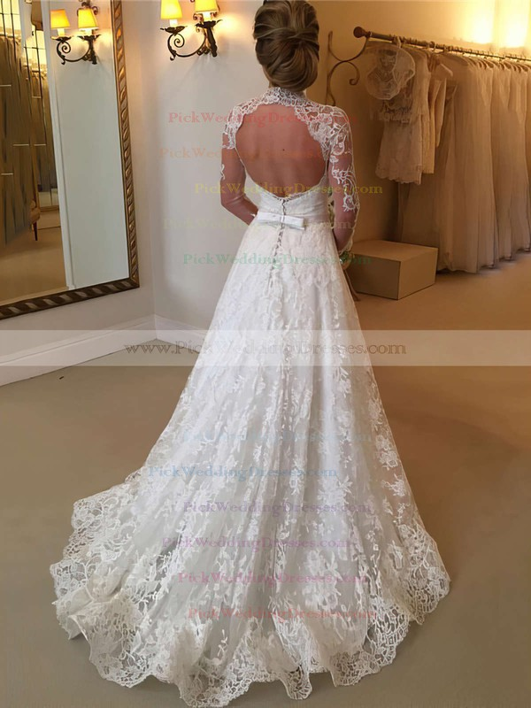 Boutique Open Back A-line Lace Sweep Train Sashes / Ribbons Long Sleeve High Neck Wedding Dresses #PWD00022590