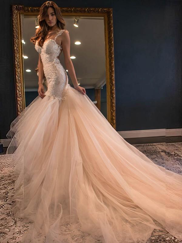 Stunning Sweetheart Tulle Appliques Lace Watteau Train Trumpet/Mermaid Wedding Dresses #PWD00022591