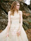 A-line Scoop Neck Tulle with Appliques Lace Sweep Train New Arrival Wedding Dresses #PWD00022592