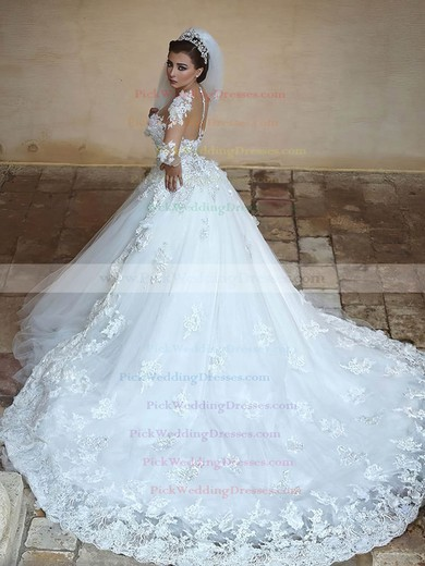 Ball Gown Scoop Neck Tulle Appliques Lace Cathedral Train Long Sleeve Amazing Wedding Dresses #PWD00022594
