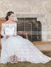 Modest A-line Off-the-shoulder Lace Sashes / Ribbons Court Train Long Sleeve Wedding Dress #PWD00022595
