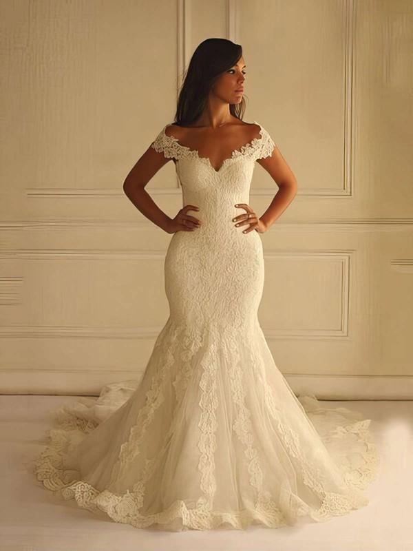 Online V-neck Lace Tulle Appliques Lace Court Train Trumpet/Mermaid Wedding Dresses #PWD00022596