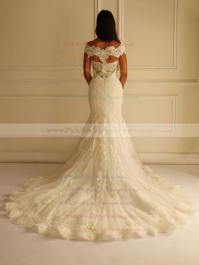 Online V-neck Lace Tulle Appliques Lace Court Train Trumpet/Mermaid Wedding Dresses #PWD00022596