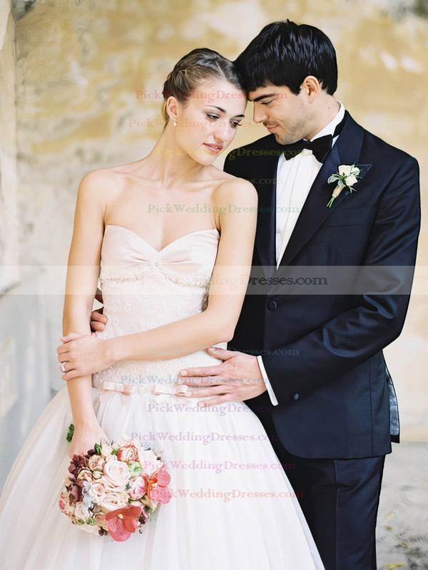 Promotion A-line Sweetheart Tulle with Bow Sweep Train Wedding Dresses #PWD00022600