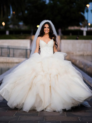 Different V-neck Tulle with Beading Sweep Train Ball Gown Wedding Dresses #PWD00022601