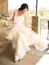 A-line Sweetheart Chiffon with Appliques Lace Sweep Train Elegant Wedding Dresses #PWD00022605