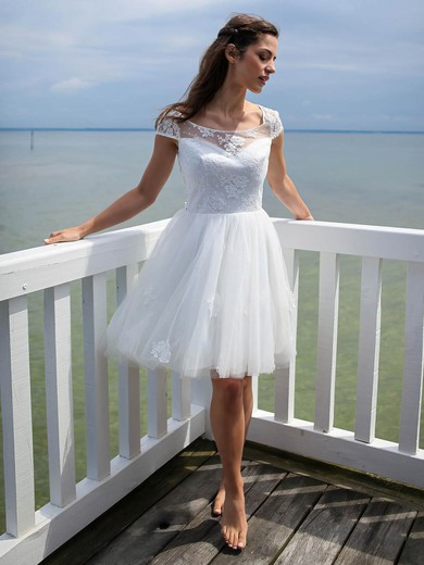Short/Mini A-line Scoop Neck Tulle Appliques Lace Open Back Pretty Wedding Dresses #PWD00022606