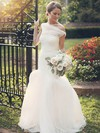 Exclusive Trumpet/Mermaid Tulle Ruffles Sweep Train One Shoulder Wedding Dresses #PWD00022607