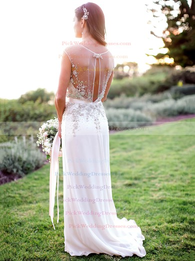 Beautiful A-line Chiffon with Beading Sweep Train V-neck Wedding Dresses #PWD00022608