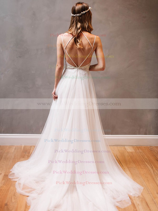 Sexy A-line Scoop Neck Tulle Appliques Lace Watteau Train Backless Wedding Dresses #PWD00022609