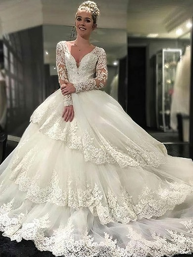 Ball Gown V-neck Tulle Appliques Lace Cathedral Train Long Sleeve Glamorous Open Back Wedding Dresses #PWD00022610
