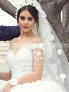 Scoop Neck Tulle Beading Sweep Train Long Sleeve Fabulous Ball Gown Wedding Dresses #PWD00022611