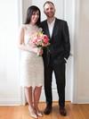 Simple Scalloped Neck Sheath/Column Lace Ruffles Knee-length Wedding Dresses #PWD00022614