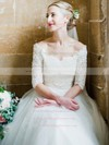 A-line Tulle with Lace Floor-length 1/2 Sleeve Off-the-shoulder Graceful Wedding Dresses #PWD00022615