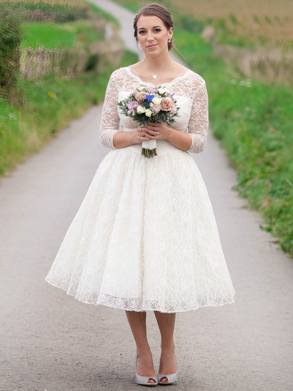 Classic A-line Scoop Neck Lace Ruffles 3/4 Sleeve Tea-length Wedding Dresses #PWD00022616