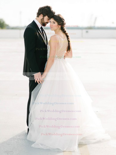 Popular Scoop Neck Tulle with Beading Floor-length Princess Wedding Dresses #PWD00022617