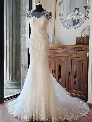 Scoop Neck Tulle Beading Chapel Train Long Sleeve Boutique Trumpet/Mermaid Wedding Dresses #PWD00022618