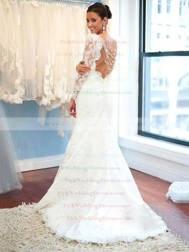 Trumpet/Mermaid Scalloped Neck Tulle Appliques Lace Sweep Train Long Sleeve Fashion Backless Wedding Dresses #PWD00022619