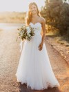 Trendy A-line Sweetheart Tulle with Sashes / Ribbons Floor-length Wedding Dresses #PWD00022620