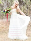 A-line Scoop Neck Tulle with Appliques Lace Sweep Train Beautiful Wedding Dresses #PWD00022621