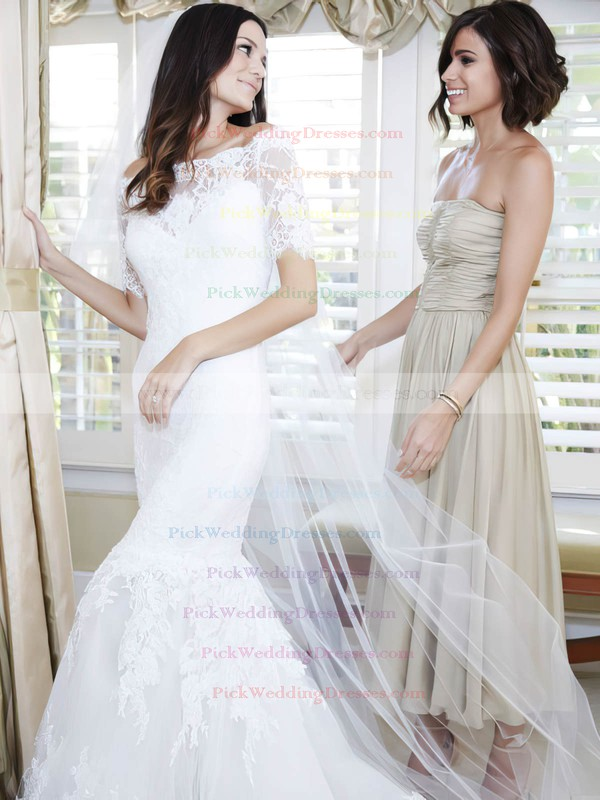 Trumpet/Mermaid Off-the-shoulder Tulle Appliques Lace Sweep Train 1/2 Sleeve Wedding Dresses #PWD00022623