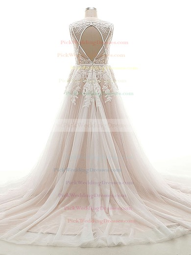 Open Back A-line V-neck Tulle Appliques Lace Court Train Original Wedding Dresses #PWD00022624
