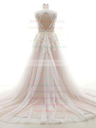 Open Back A-line V-neck Tulle Appliques Lace Court Train Original Wedding Dresses #PWD00022624