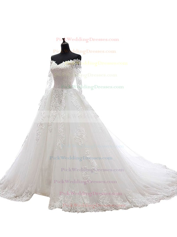Online Ball Gown Tulle Appliques Lace Chapel Train Long Sleeve Off-the-shoulder Wedding Dresses #PWD00022625