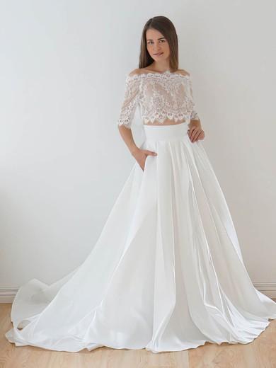 A-line Off-the-shoulder Lace Taffeta Appliques Lace Court Train 1/2 Sleeve Two Piece Wedding Dresses #PWD00022626