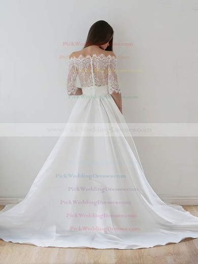 A-line Off-the-shoulder Lace Taffeta Appliques Lace Court Train 1/2 Sleeve Two Piece Wedding Dresses #PWD00022626