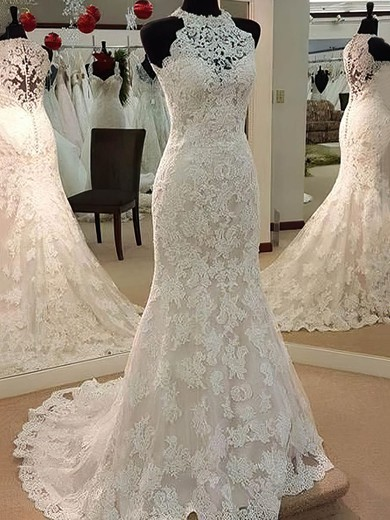 Trumpet/Mermaid Tulle Appliques Lace Sweep Train Perfect High Neck Wedding Dresses #PWD00022628