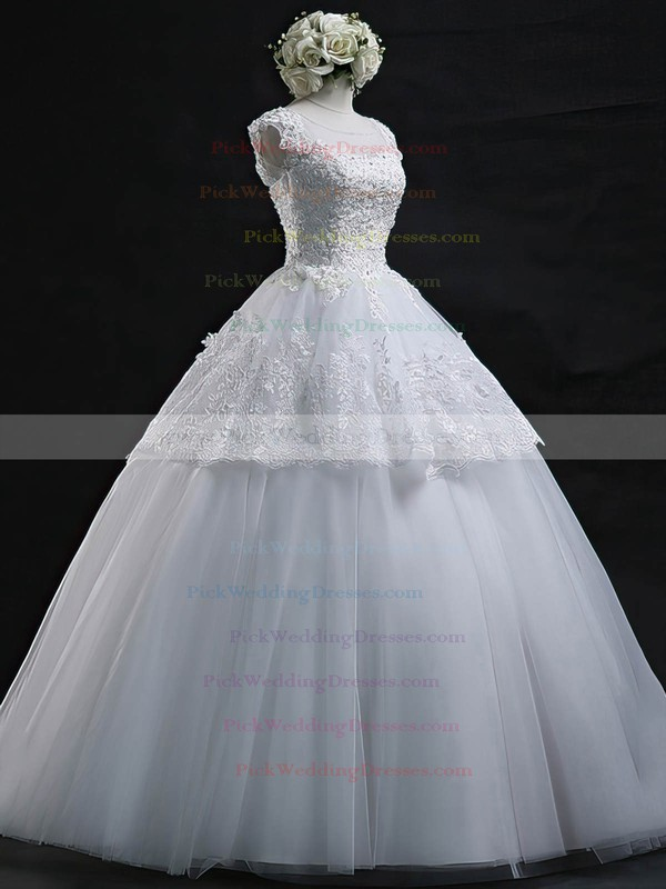 Scoop Neck Tulle Appliques Lace Floor-length Graceful Ball Gown Wedding Dresses #PWD00022629